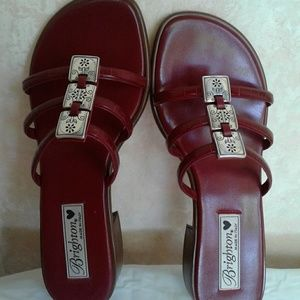 Brighton Sandals Missy Red Leather Slides 7 1/2 M